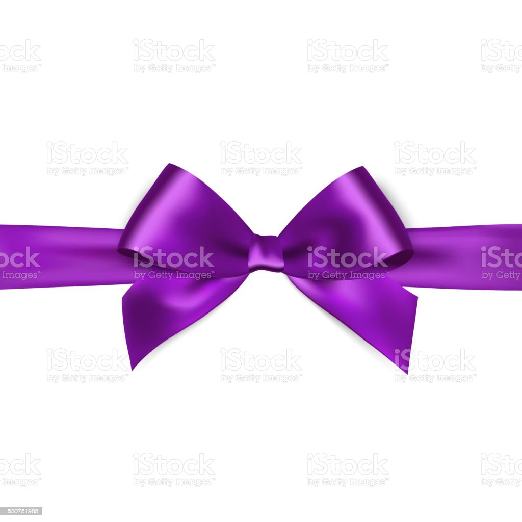 Shiny purple satin ribbon on white background vector art illustration