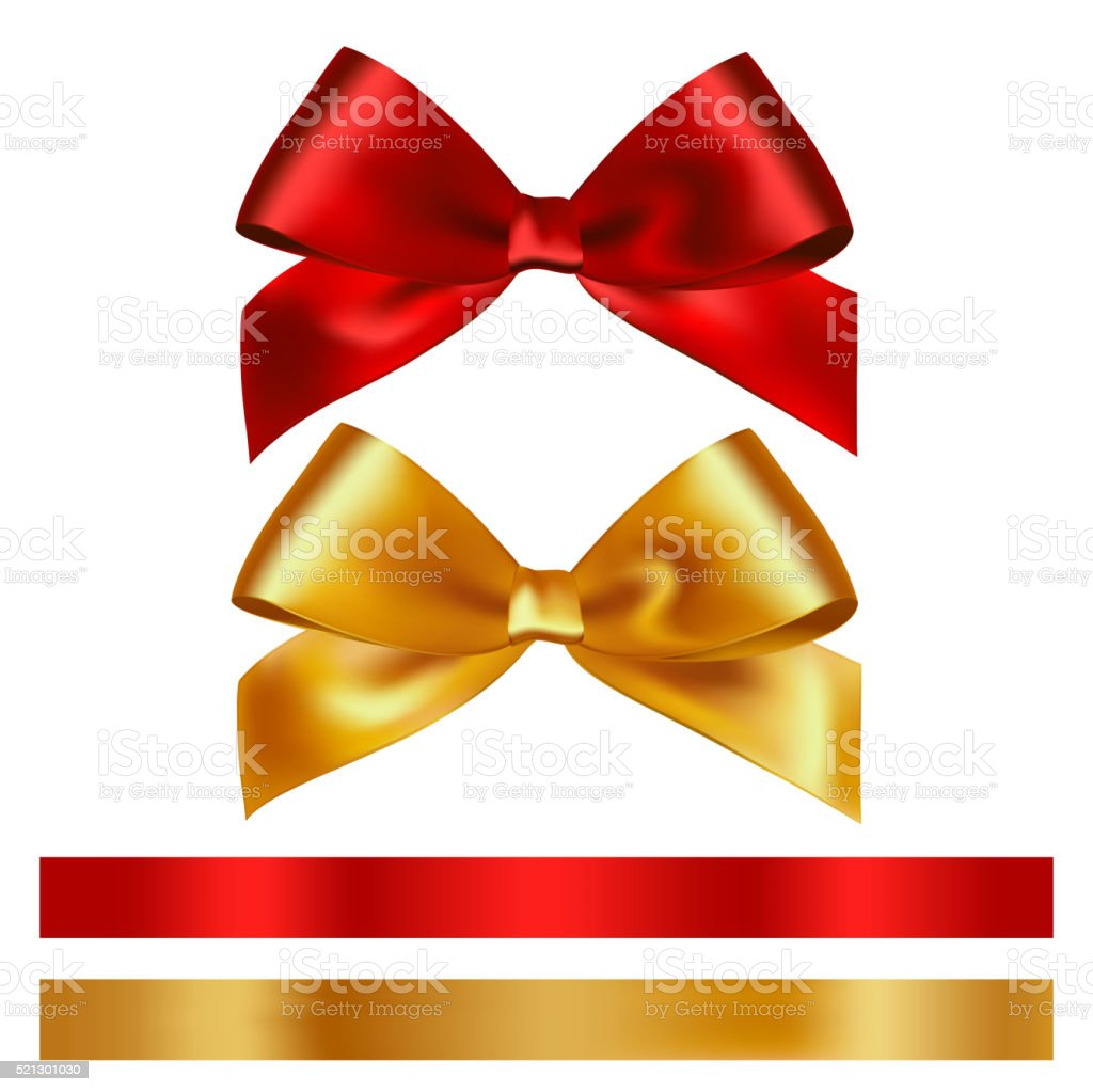 Shiny red and gold satin ribbon on white background vector art illustration