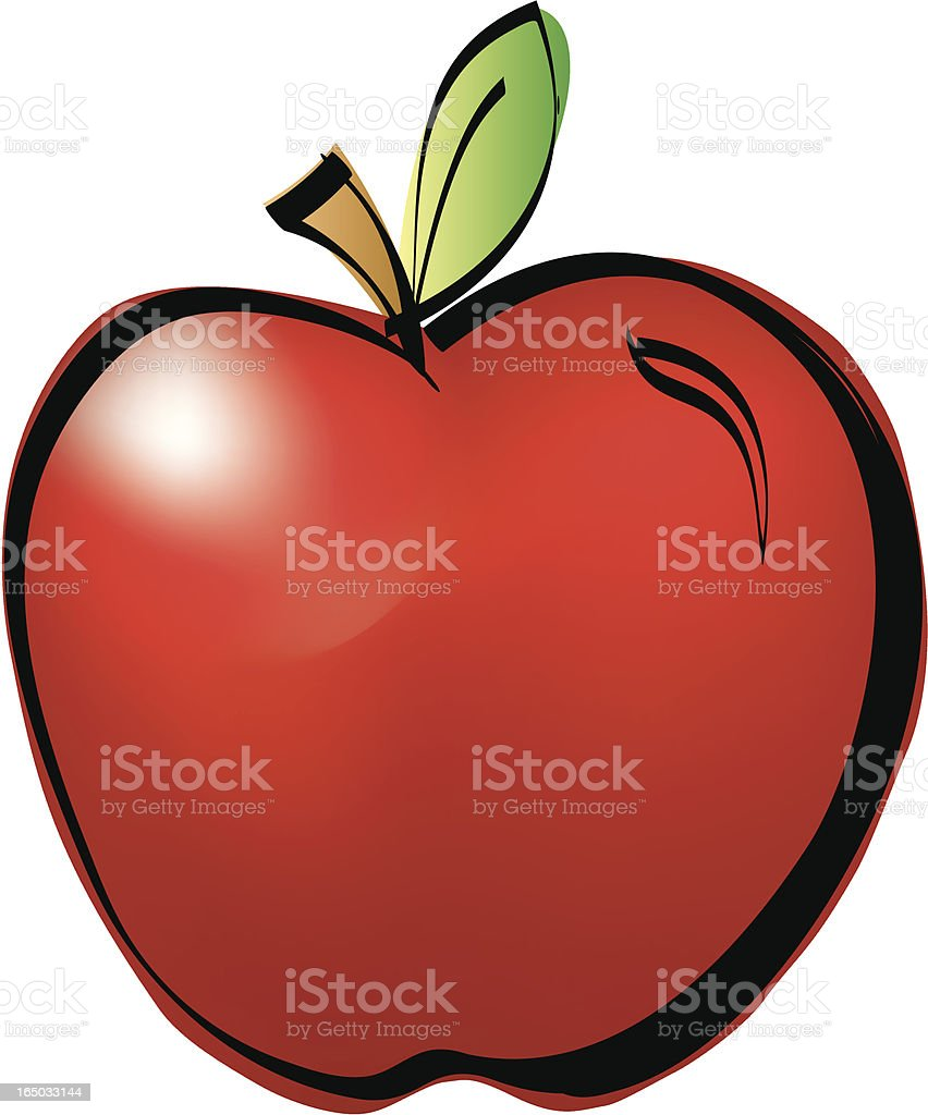 shiny red apple vector art illustration