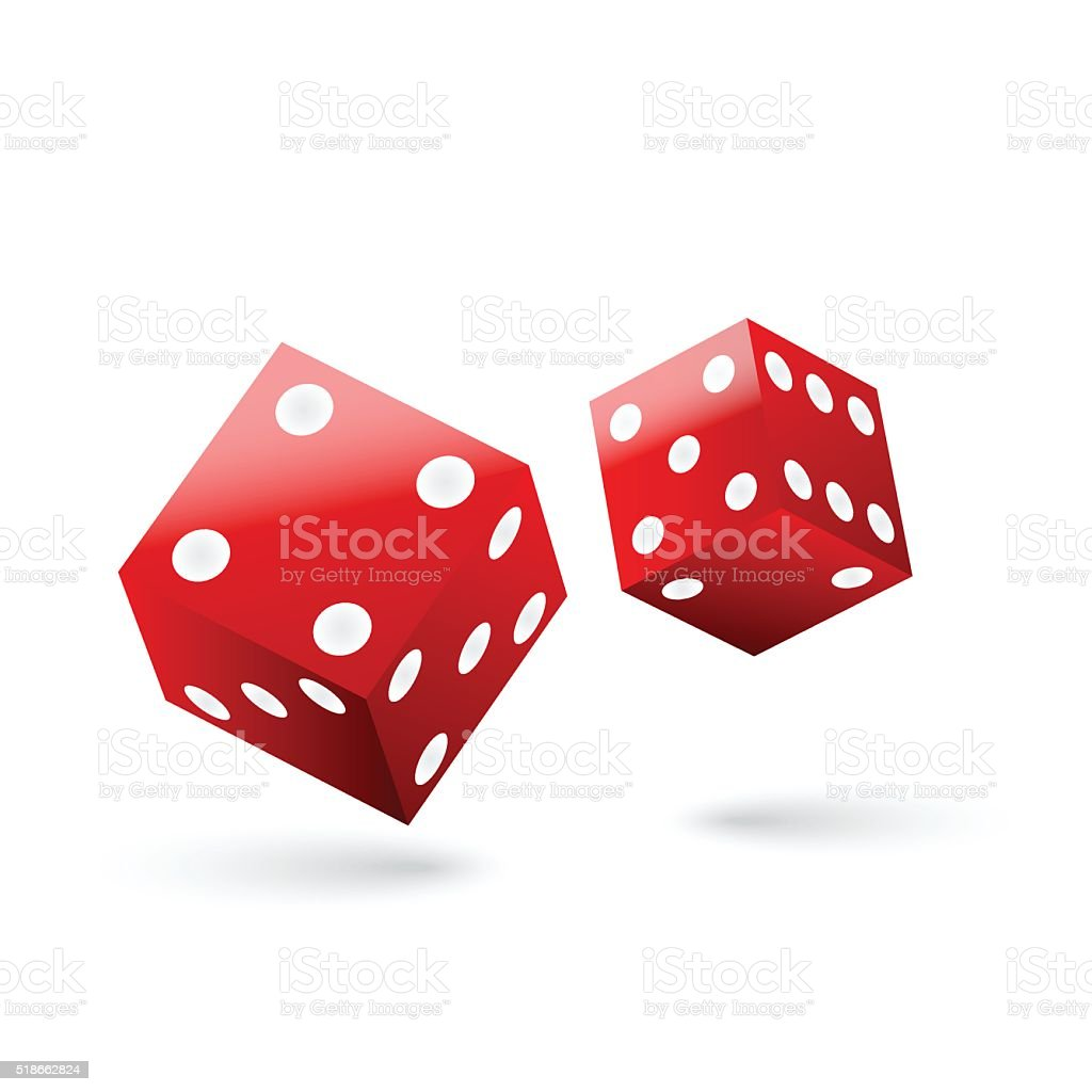 Shiny red dices vector art illustration