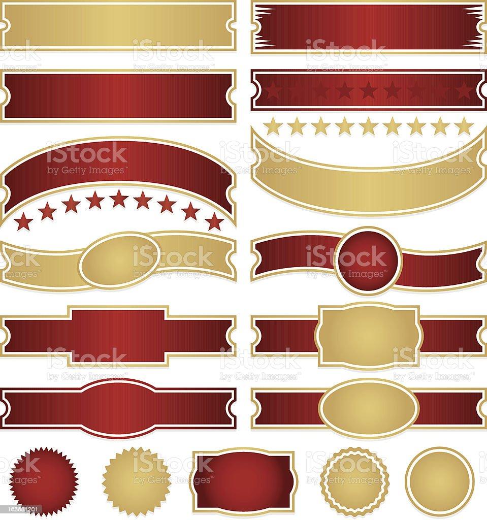 Glänzende Rot und Gold Bänder und Sternen, Aufkleber Set Lizenzfreies vektor illustration