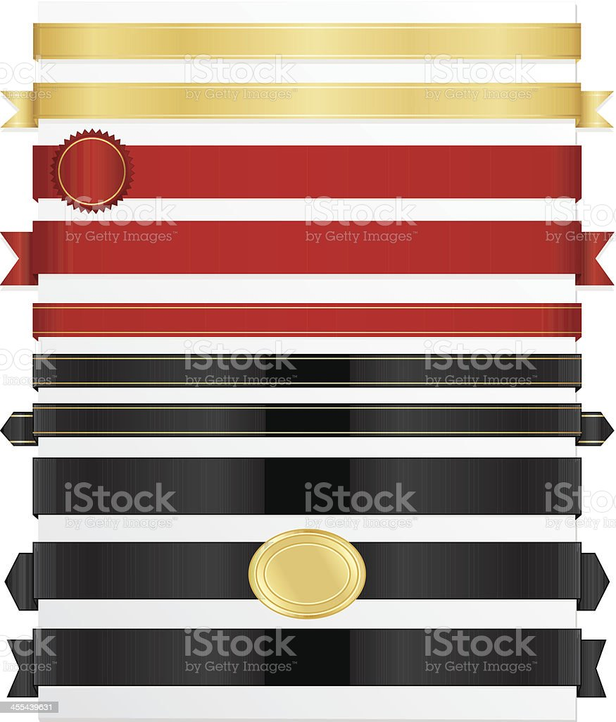 Shiny Red, Gold Satin, Black Ribbons, Stickers, Labels, Banners Set vector art illustration