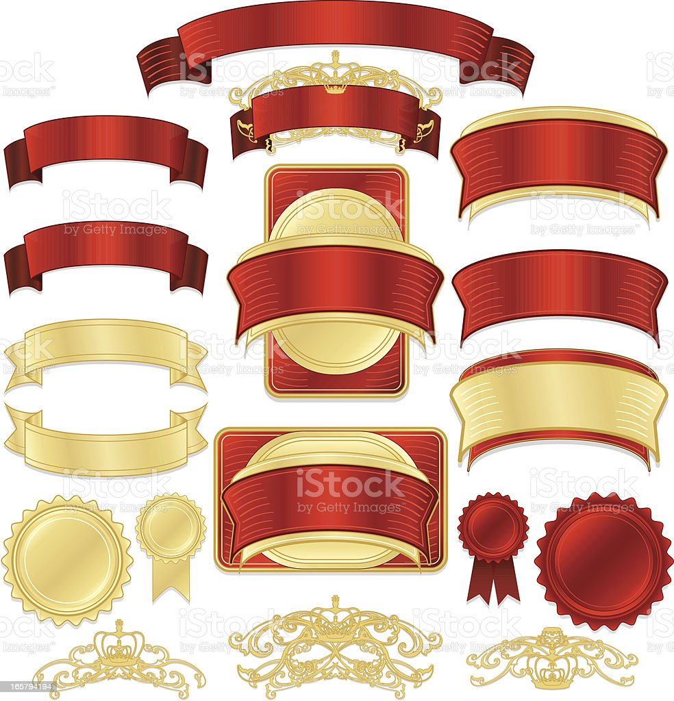 Shiny Red, Gold Satin, Metallic Ribbons, Stickers, Labels, Banners Set royalty-free stock vector art