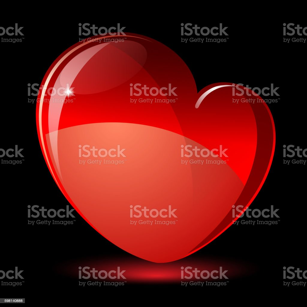 Shiny Red Heart. Valentine's day vector vector art illustration