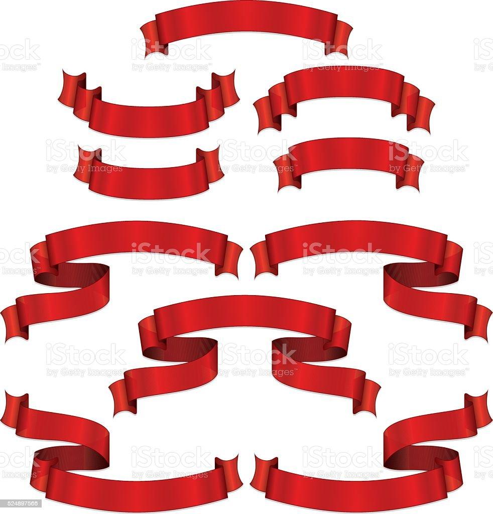 Shiny Red Metallic Satin Banners, Ribbons Set vector art illustration