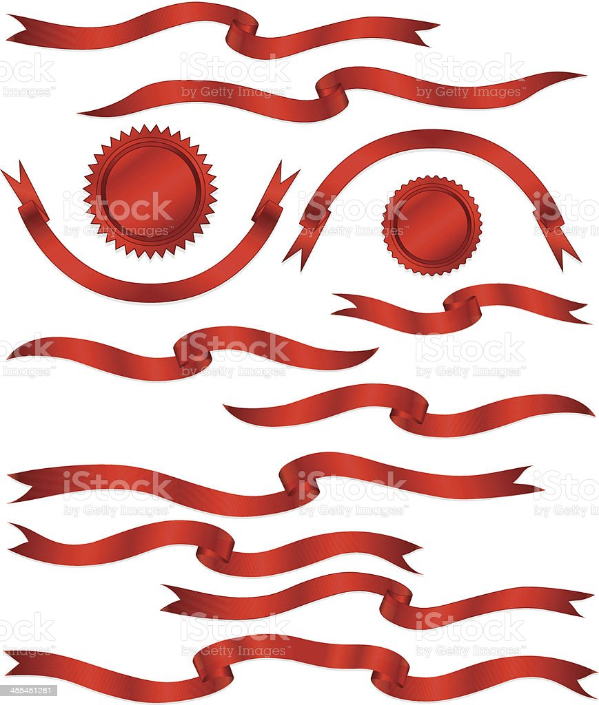 Shiny Red Metallic Satin Banners, Ribbons, Stickers Set royalty-free stock vector art