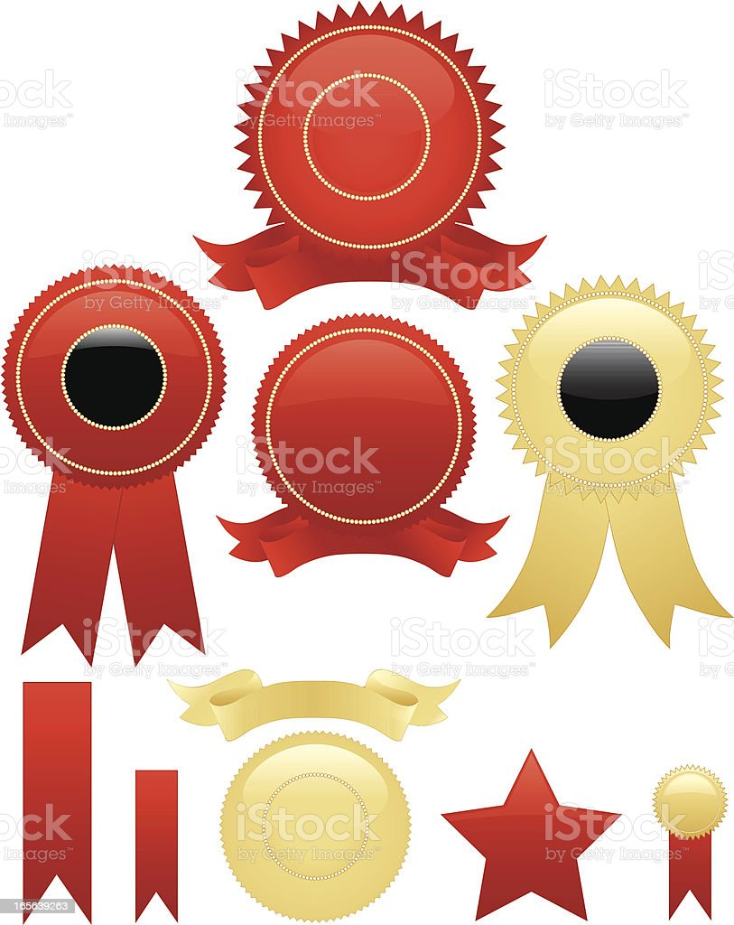 Shiny Red or Gold Round Seals, Stickers Set, Optional Ribbons royalty-free stock vector art