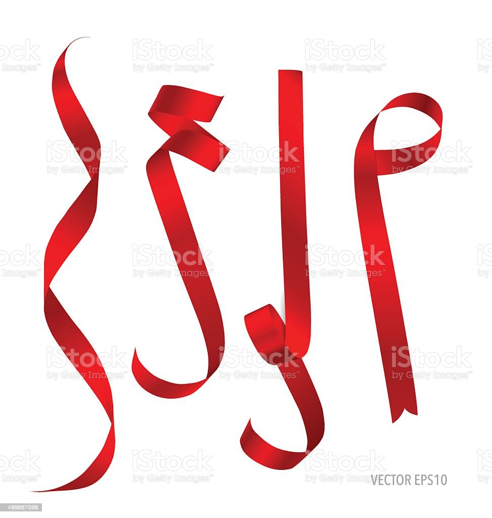 Shiny red ribbon. Vector illustration. vector art illustration