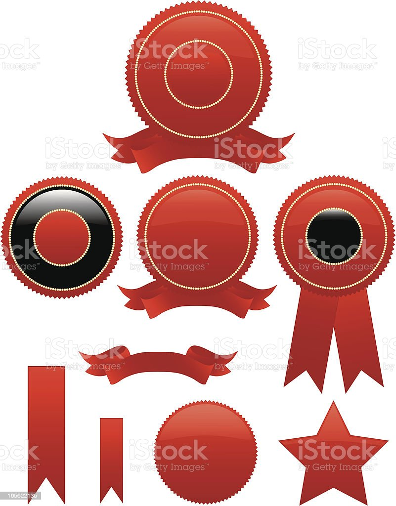 Shiny Red Round Seals, Stickers Set with Optional Ribbons royalty-free stock vector art