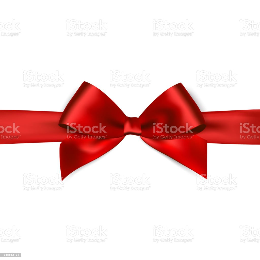Shiny red satin ribbon on white background vector art illustration