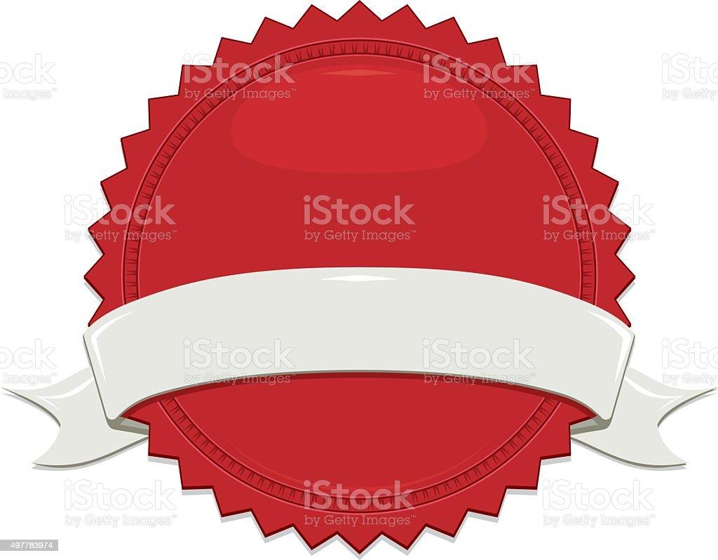 Shiny Red Sticker, Off-White, Beige Ribbon Set vector art illustration