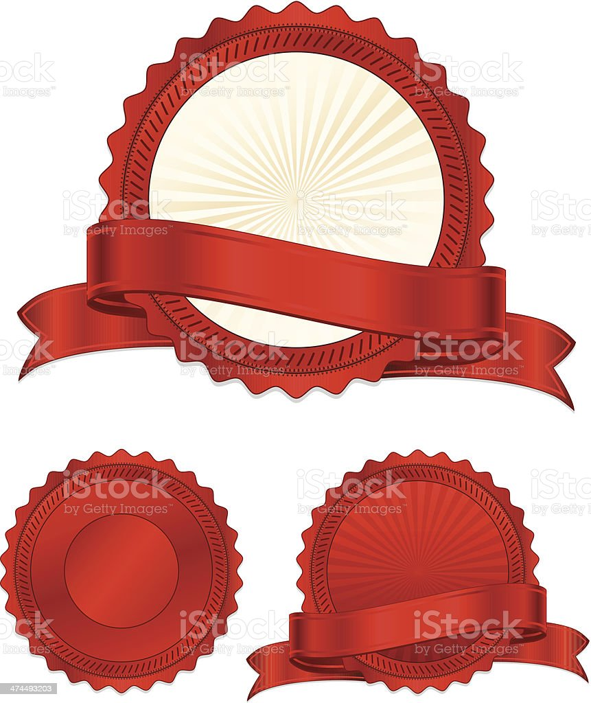 Shiny Red Stickers, Ribbons, Banners Set vector art illustration