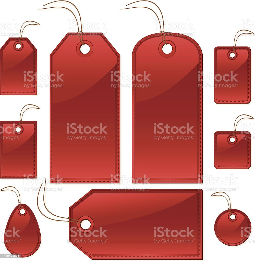 Shiny Red Stitched Gift or Price Tags, Labels, Luggage ID royalty-free stock vector art