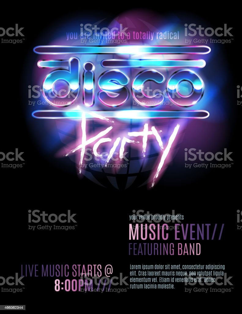 Shiny Retro 80s Party Or Disco Party Invitation Template stock – Disco Party Invitations Free