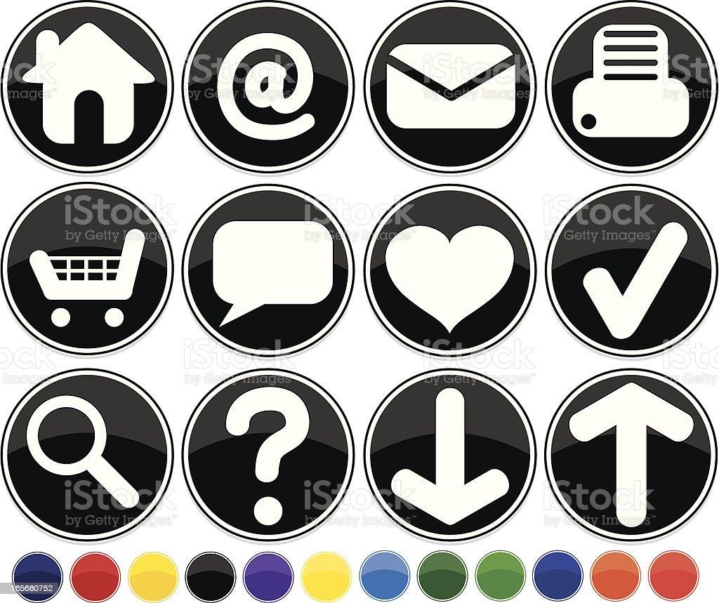 Glänzende runde schwarze Internet Icons Set mit 12 Farben zur Auswahl Lizenzfreies vektor illustration