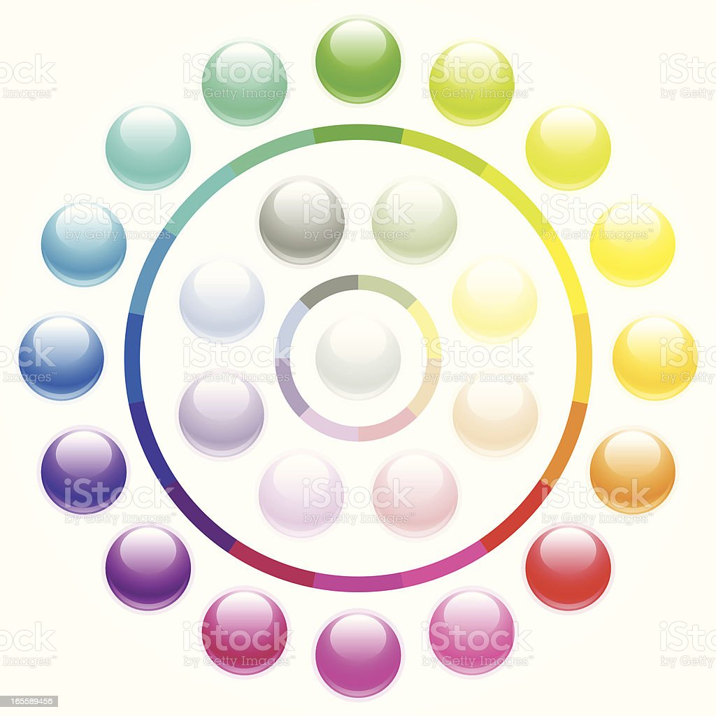Shiny round buttons - pastels royalty-free stock vector art