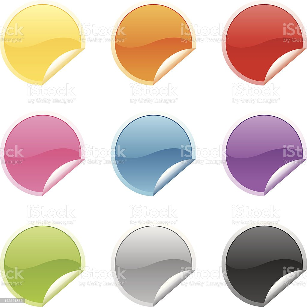 Shiny Round Stickers vector art illustration