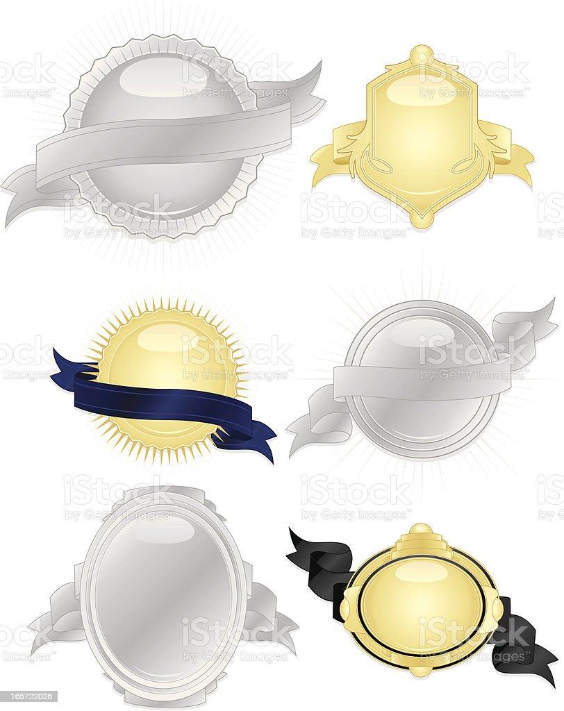Glänzendes Silber, Gold, Schwarz, Blau Leuchtende Bänder, Aufkleber Set Lizenzfreies vektor illustration