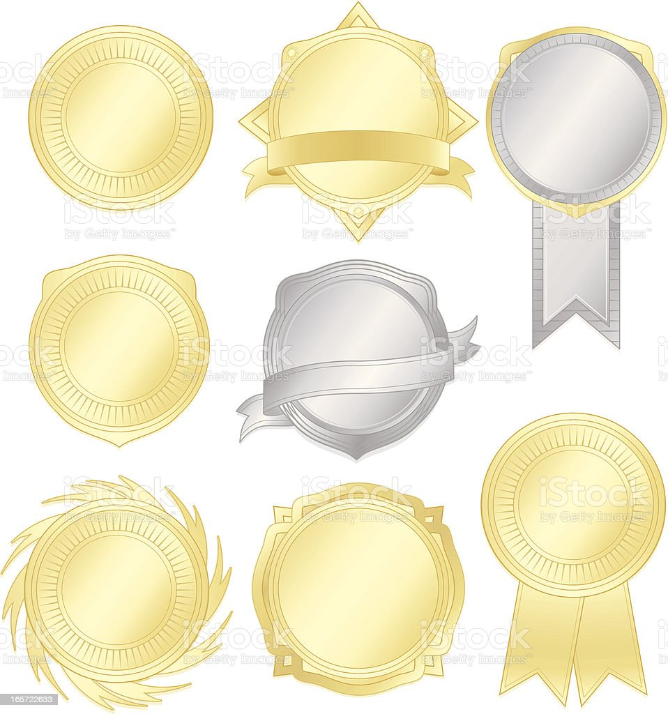 Shiny Silver, Gold Emblems, Stickers, Ribbons Set royalty-free stock vector art