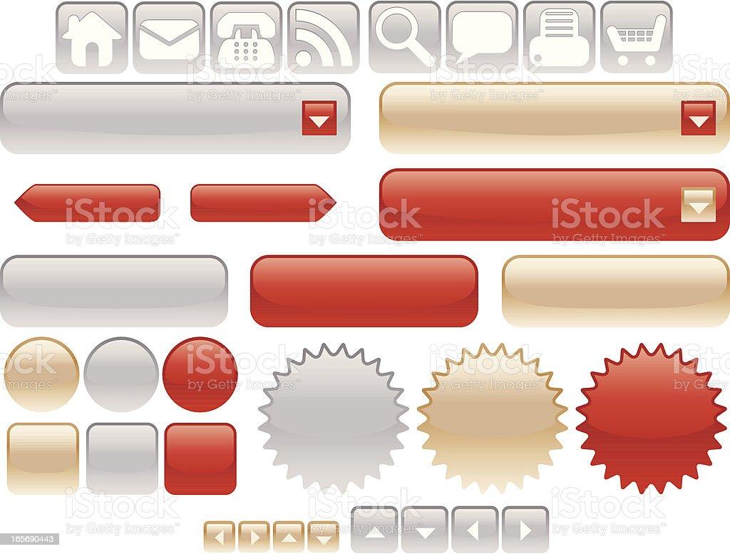 Glänzendes Silber, Gold oder Rot Internet Icons-Set Lizenzfreies vektor illustration