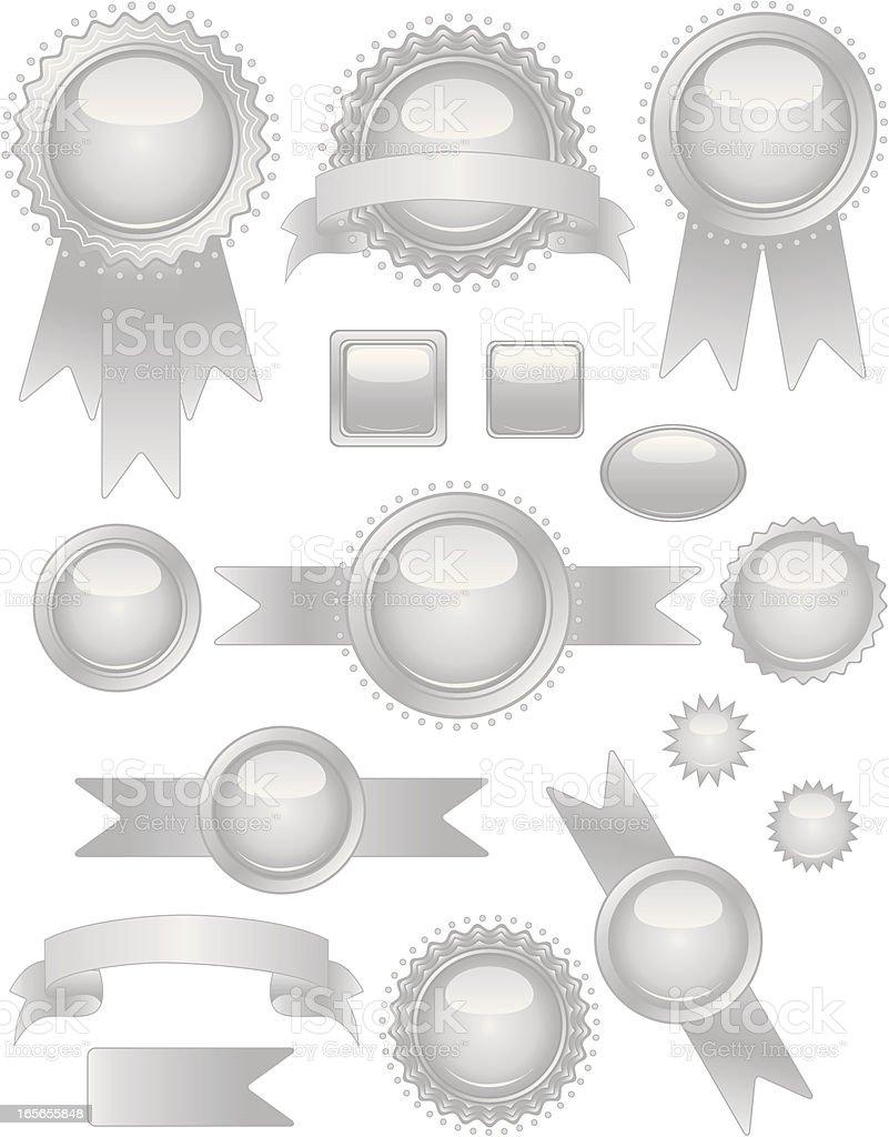 Silber Robben und Aufkleber-Set Lizenzfreies vektor illustration