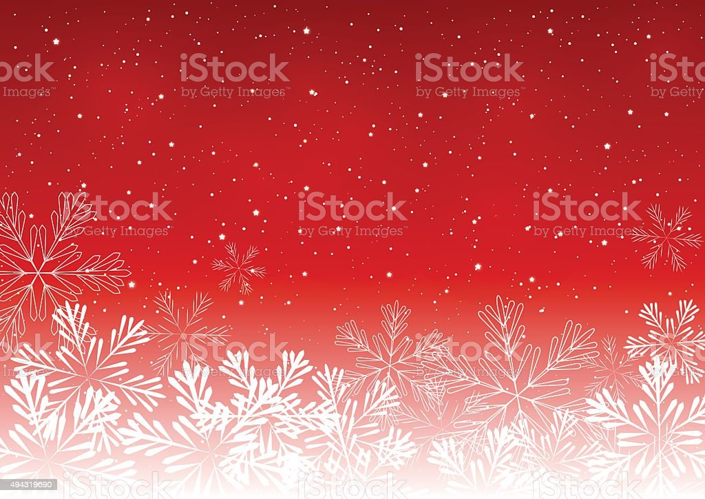 Shiny snowflakes on red background vector art illustration
