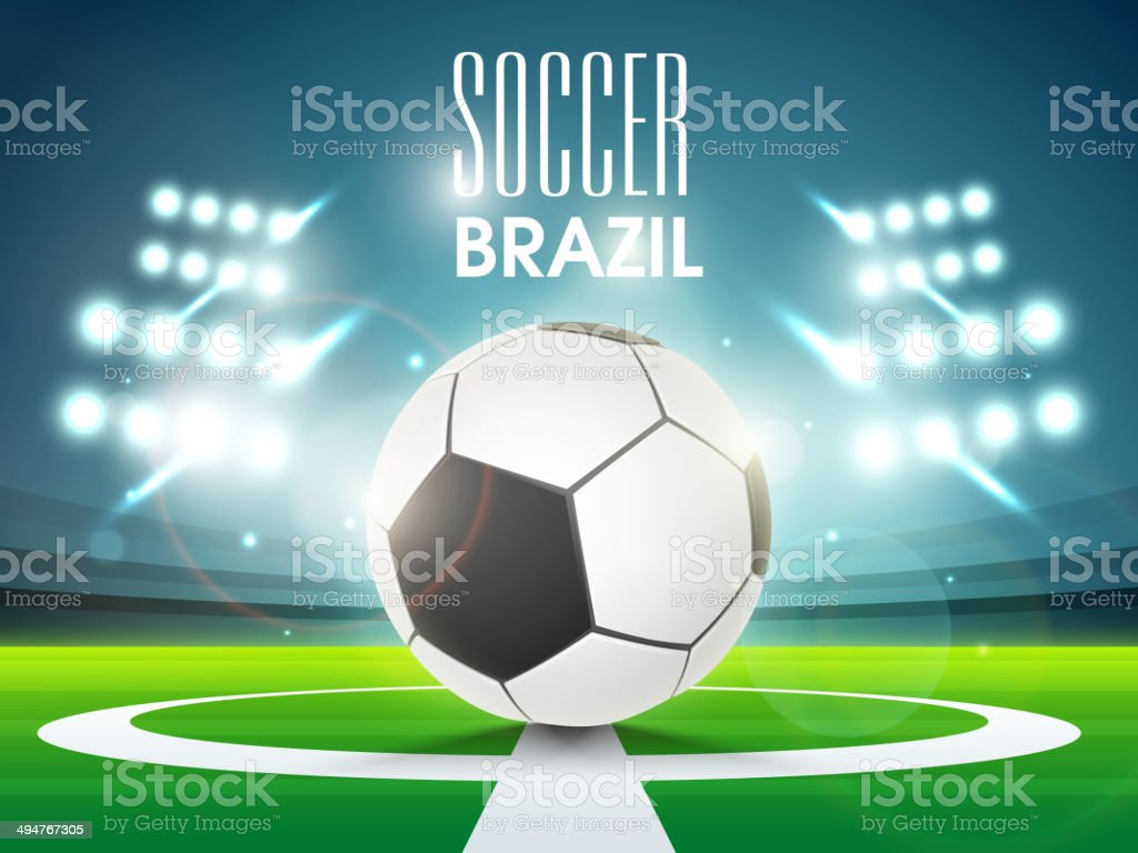 Shiny soccer ball with stadium lights in night. vector art illustration