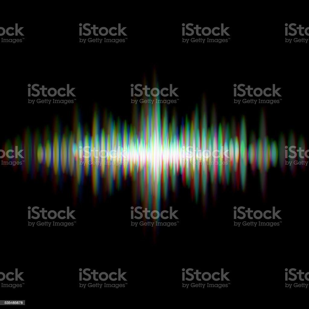Shiny sound waveform vector art illustration