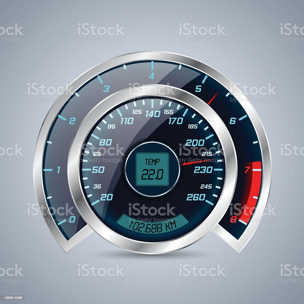 Shiny speedometer with big rev counter vector art illustration