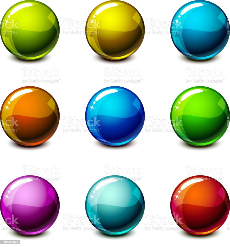 Shiny Spheres Set royalty-free stock vector art