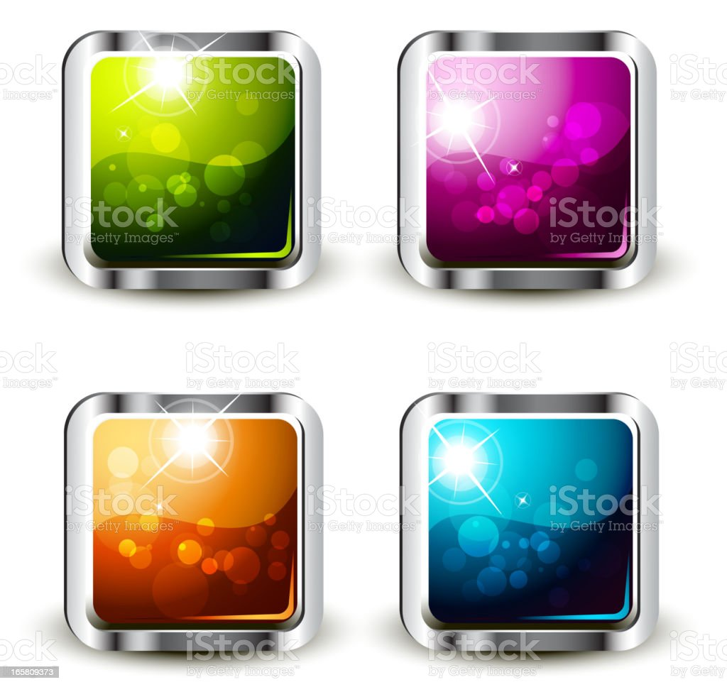 Shiny Square-shaped Buttons Set royalty-free stock vector art