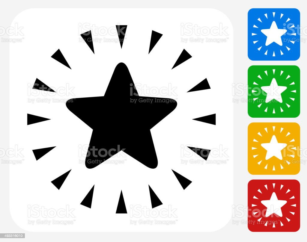 Shiny Star Icon Flat Graphic Design vector art illustration
