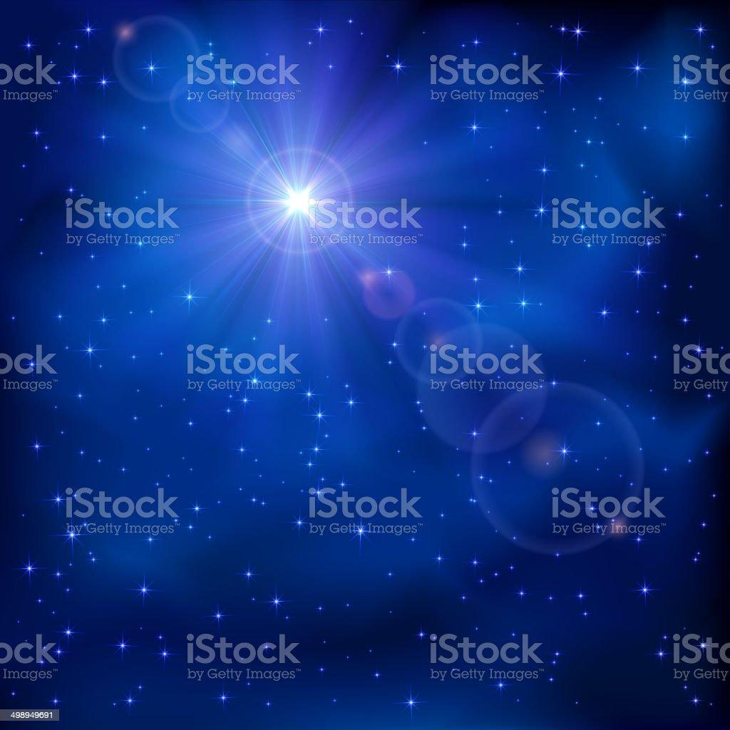 Shiny star on night sky vector art illustration