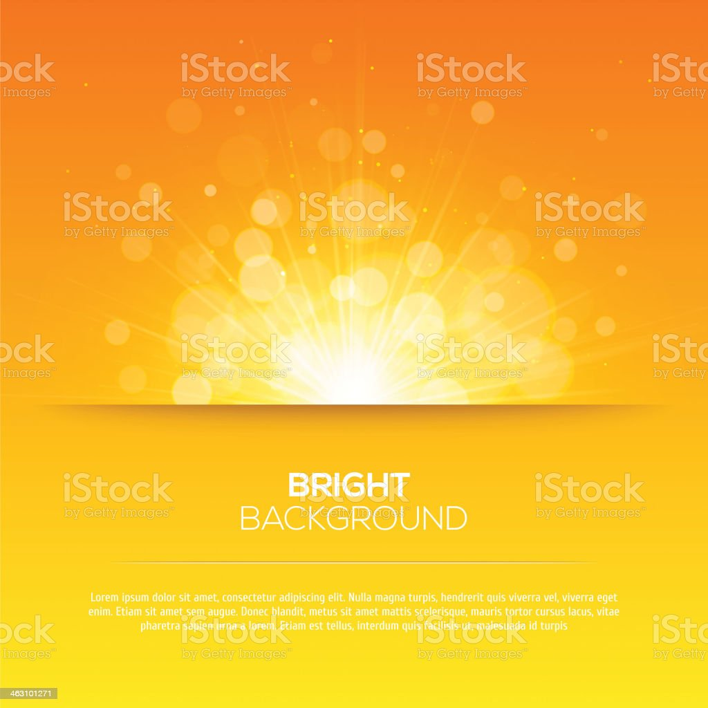 Shiny sun vector, sunbeams, sunrays, bokeh vector art illustration