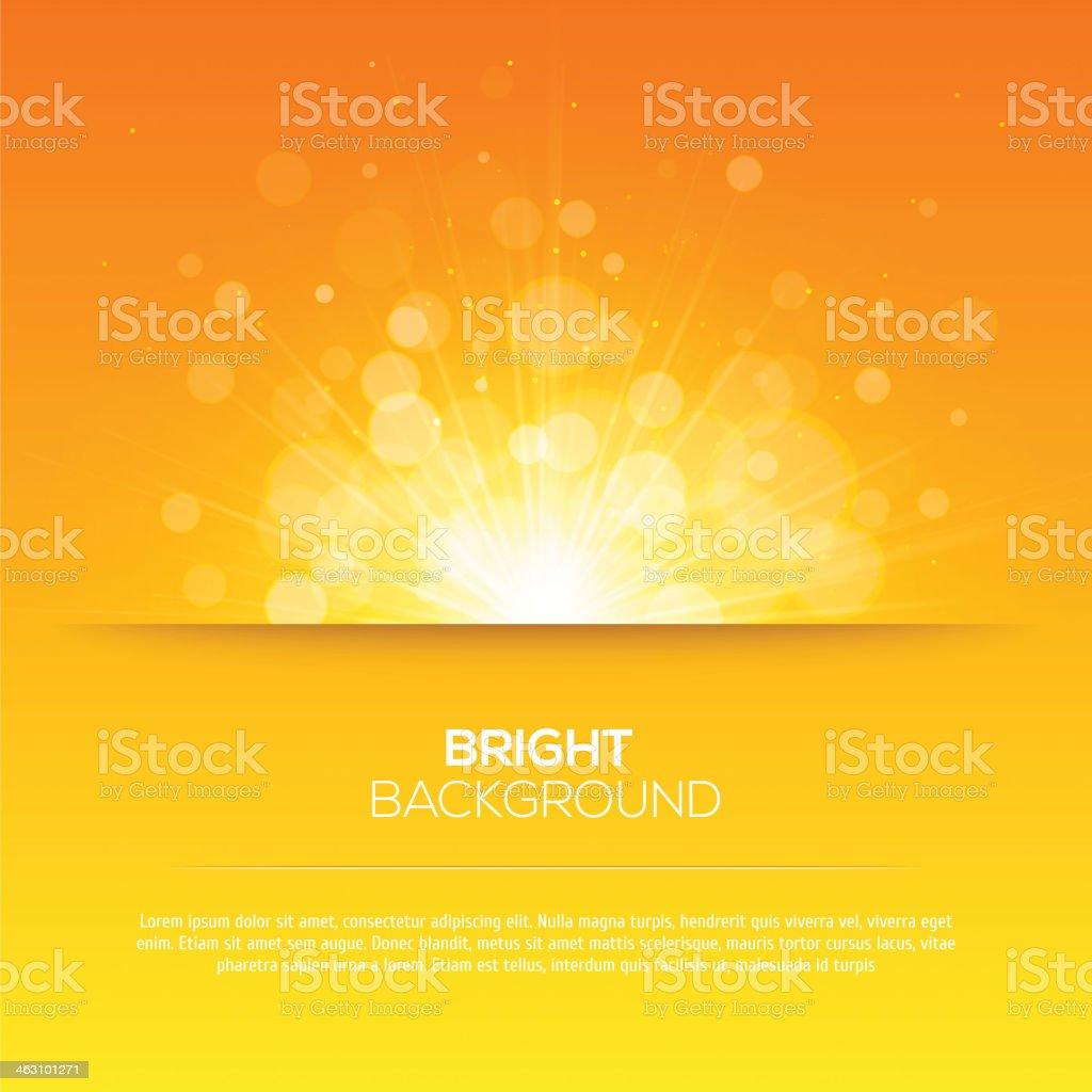 Shiny sun vector, sunbeams, sunrays, bokeh vector art illustration