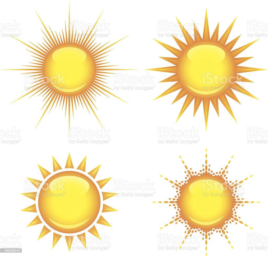 Shiny suns vector art illustration