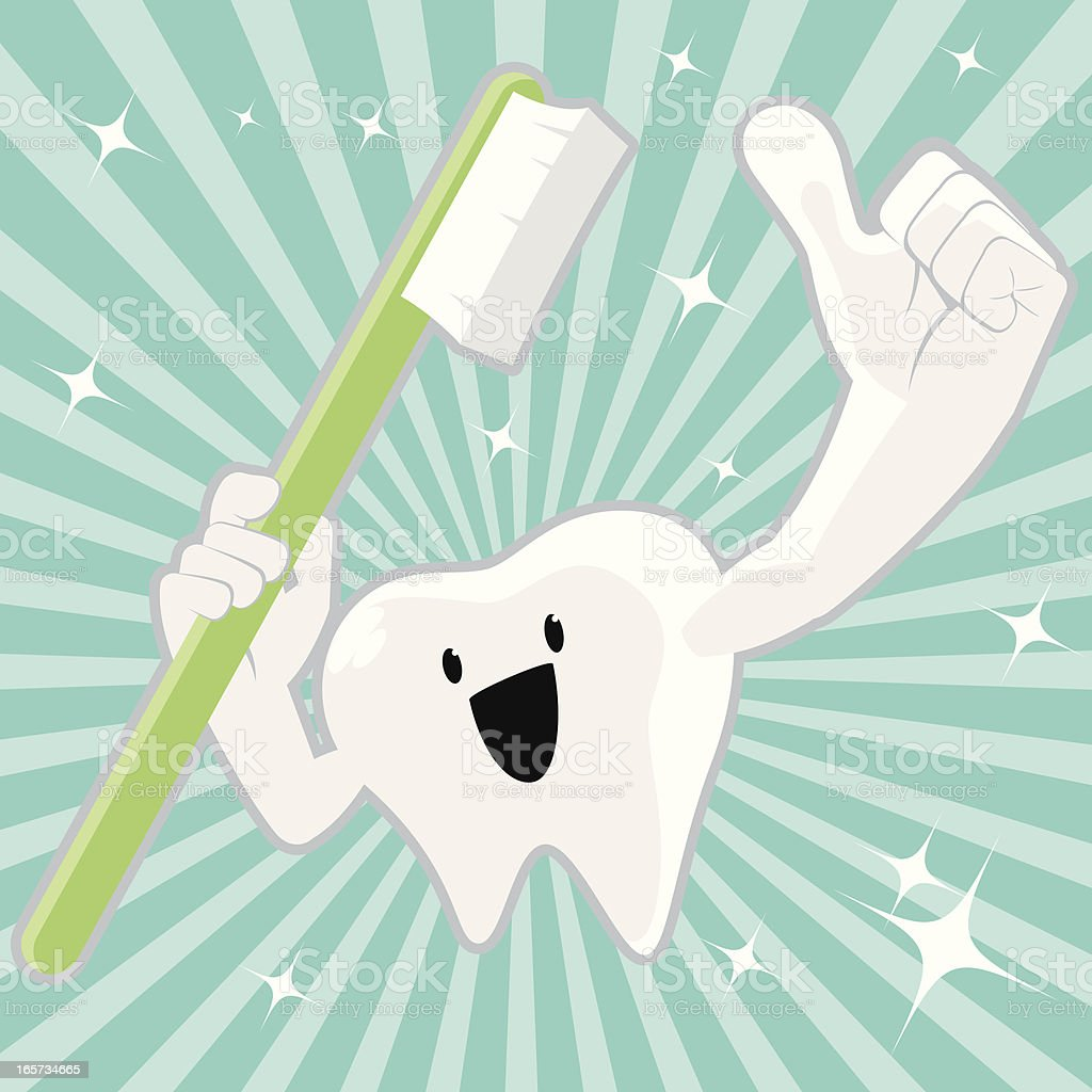 Shiny Tooth Character Holding Toothbrush And Gesturing Thumbs Up vector art illustration