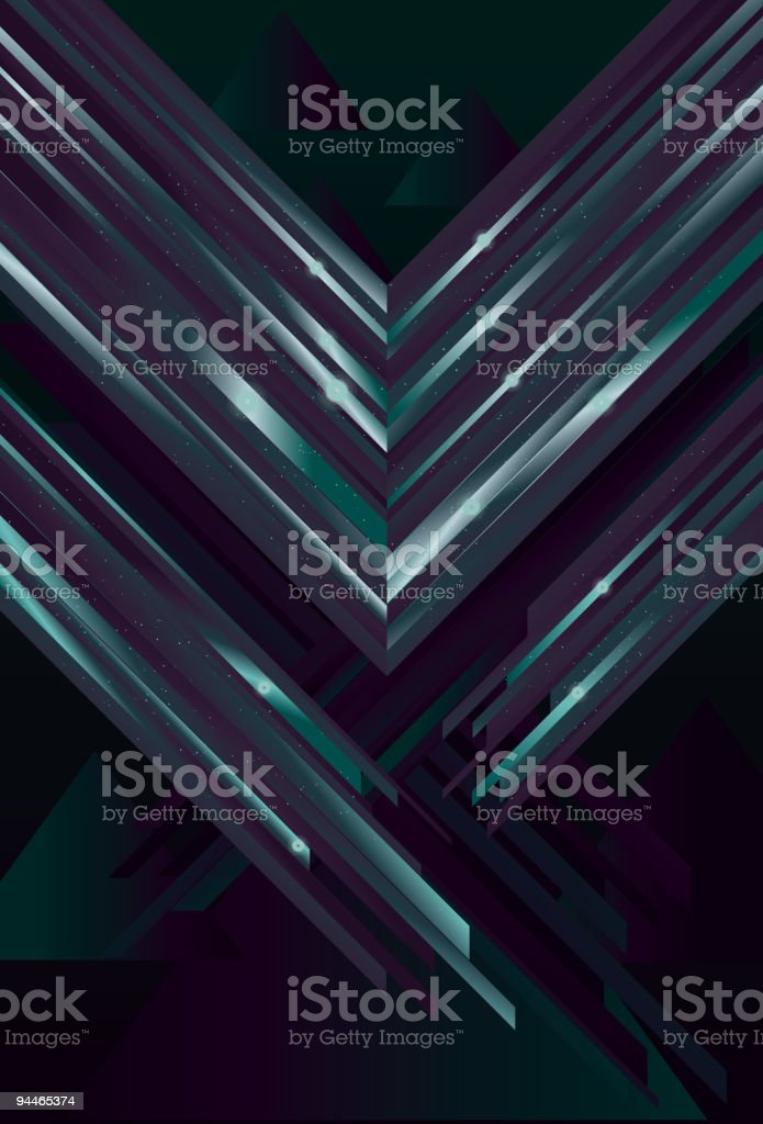 Shiny triangle apex pattern in blue & green on black royalty-free stock vector art