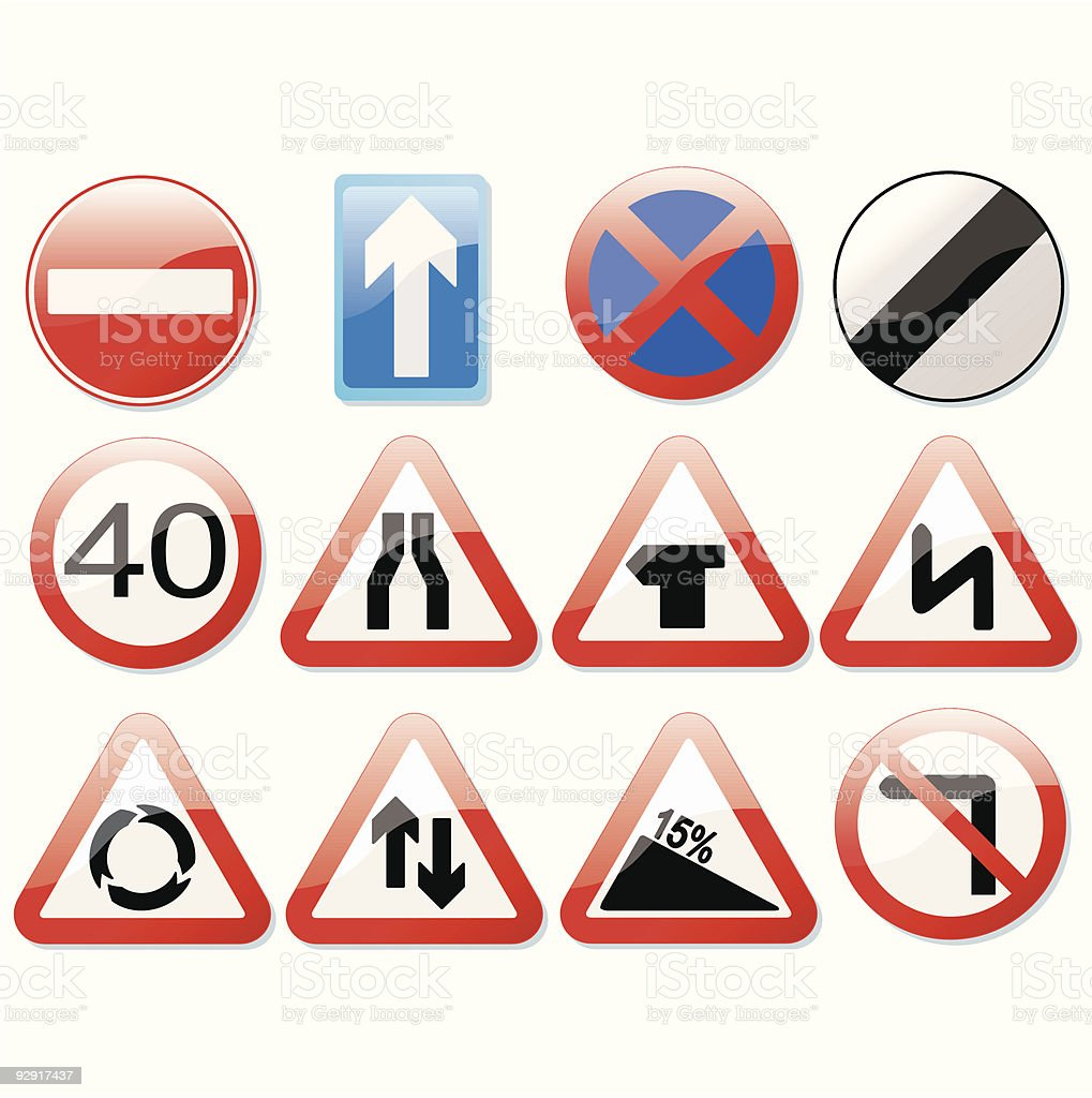 Shiny UK road signs (vector & jpeg) vector art illustration