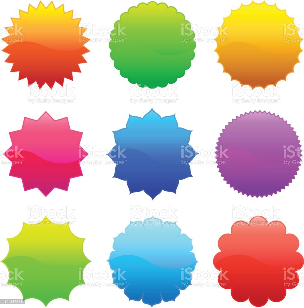 Shiny Vector Colorful Badge Labels royalty-free stock vector art