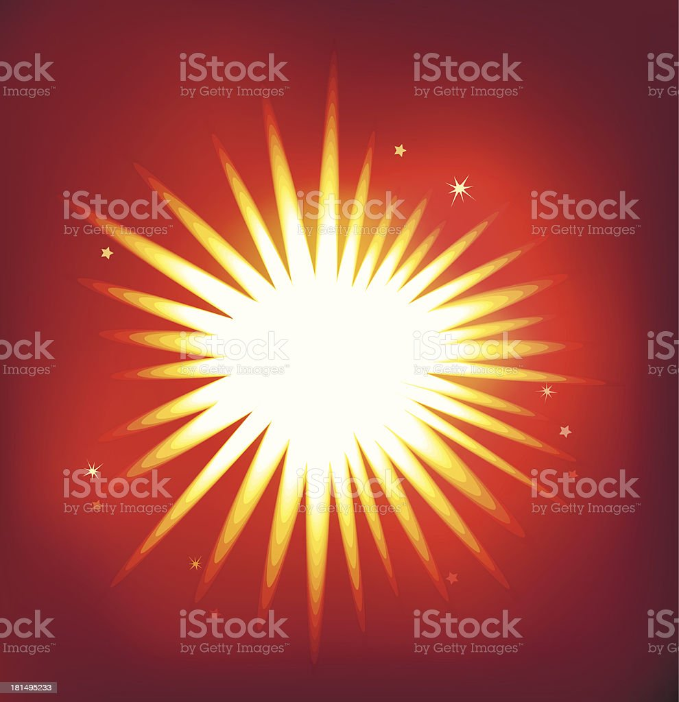 Shiny vector star isolated on red background royalty-free stock vector art