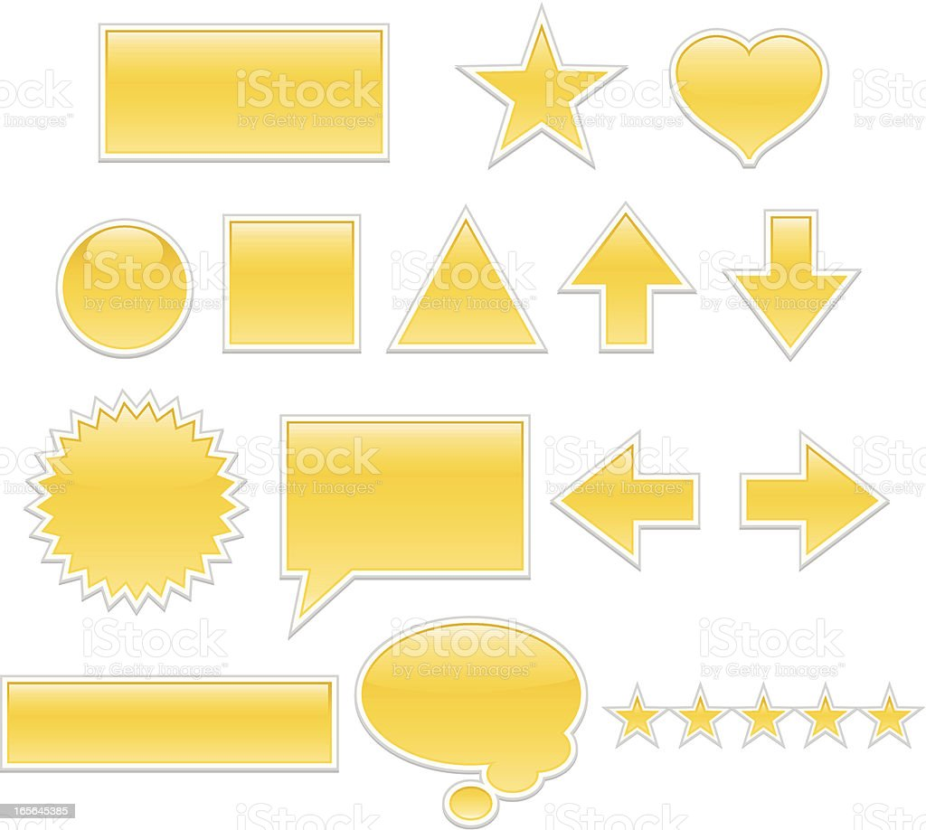 Glänzende Web-Schaltflächen, Symbole Set-Golden Gelb Lizenzfreies vektor illustration