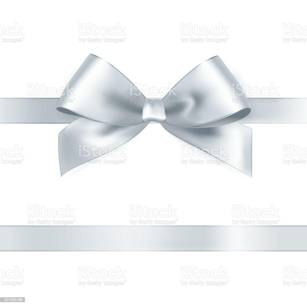 Shiny white satin ribbon vector art illustration