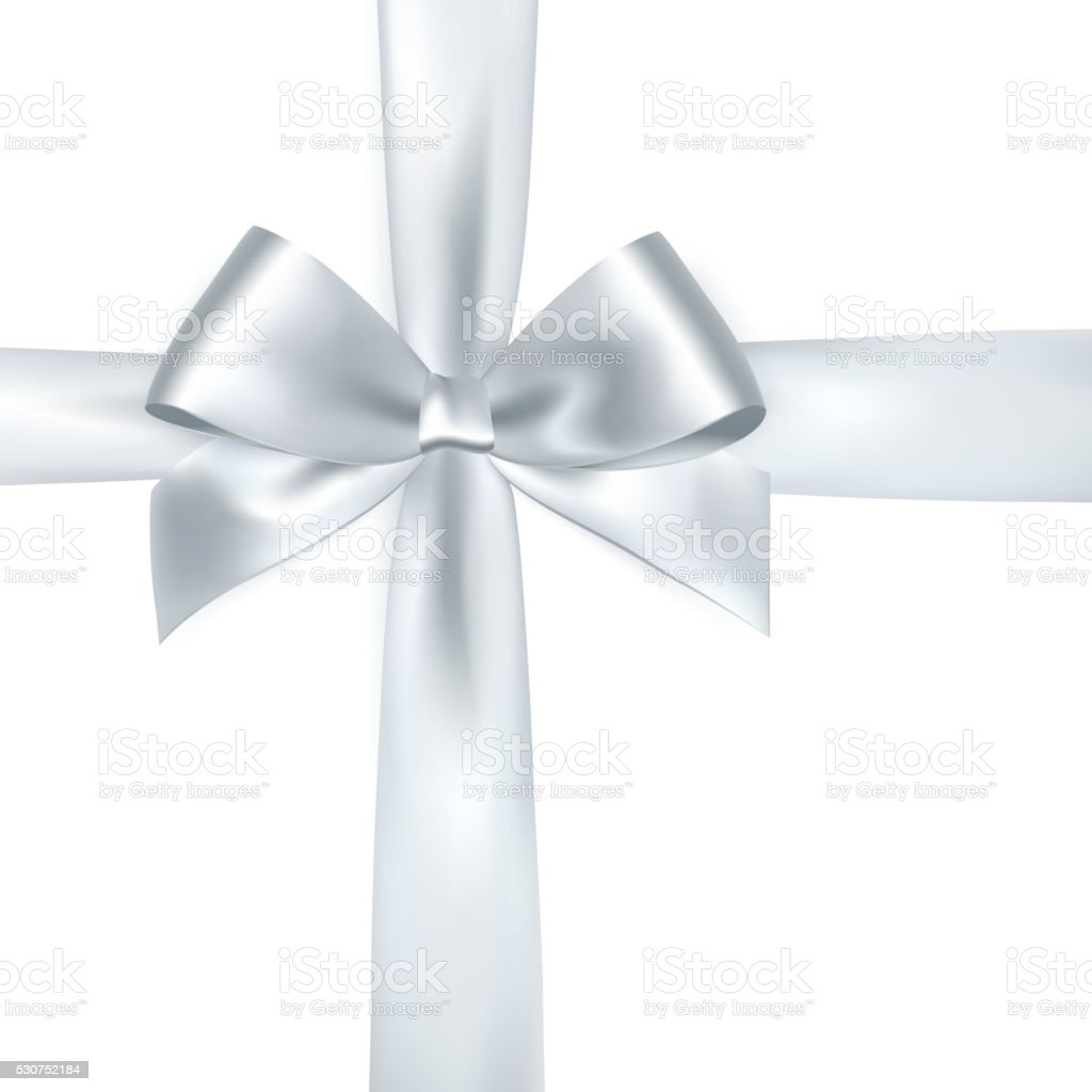 Shiny white satin ribbon vector art illustration