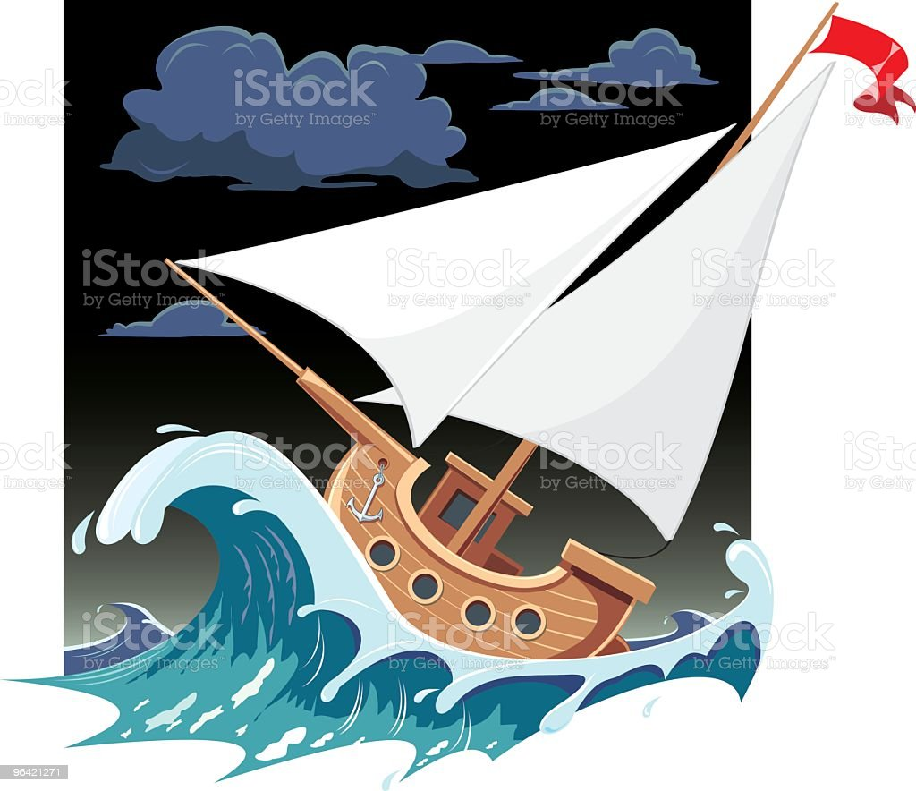 Ship an wave royalty-free stock vector art