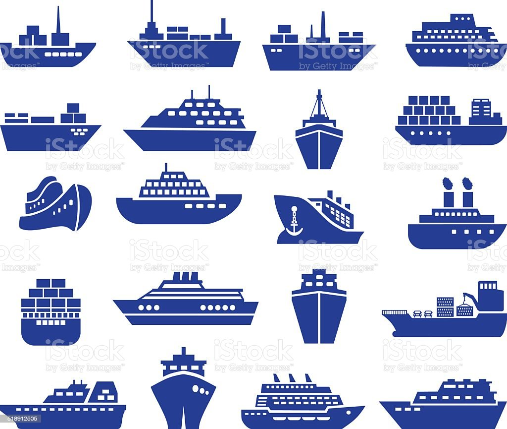 Ship and boat icon set. vector art illustration
