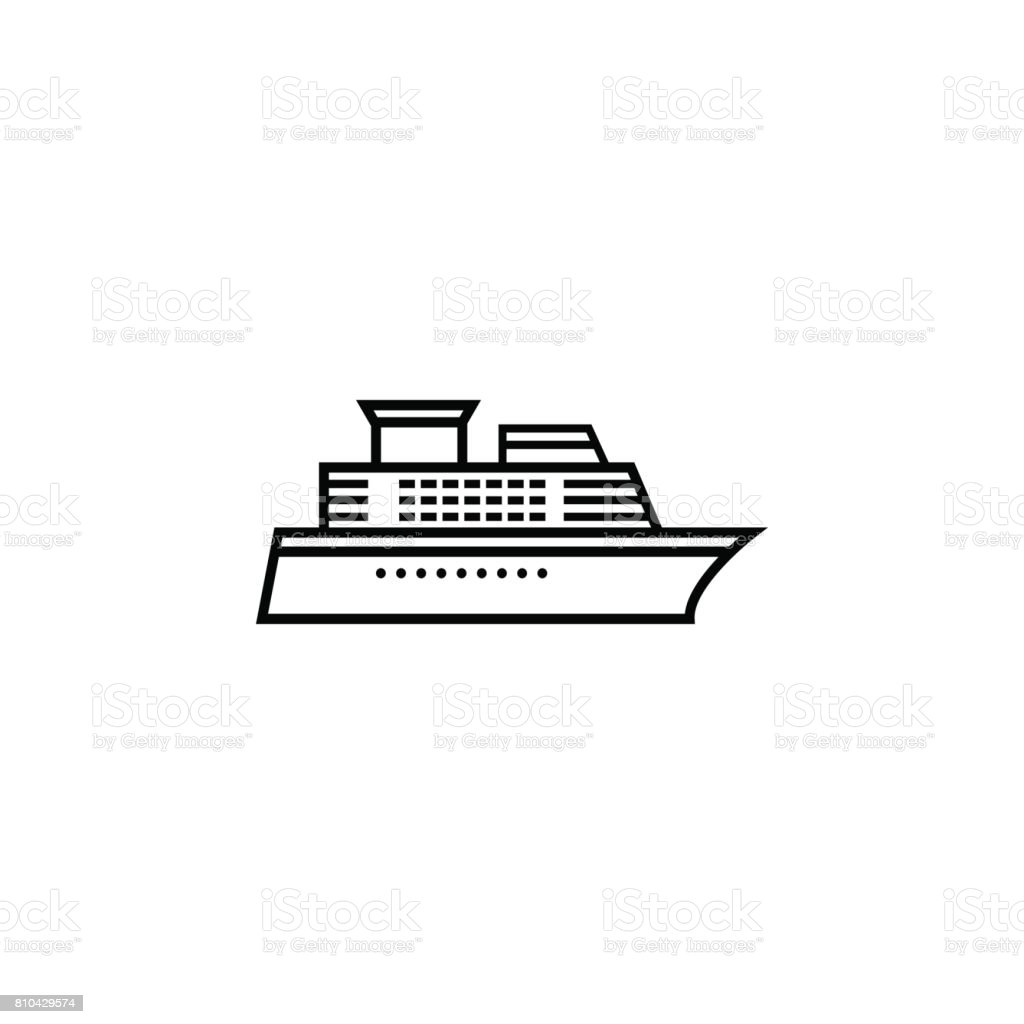 Ship and Cruise line icon, navigation vector art illustration