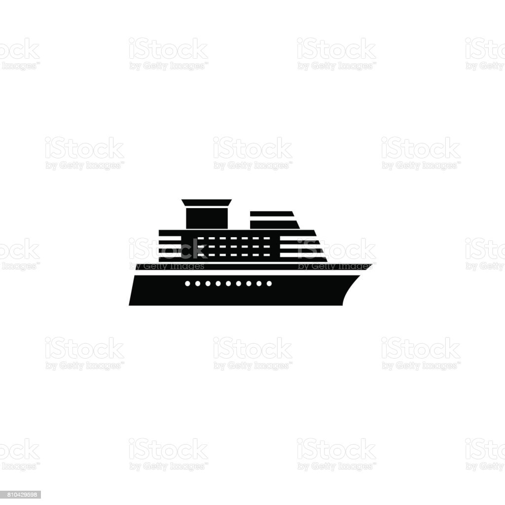 Ship and Cruise solid icon, navigation vector art illustration