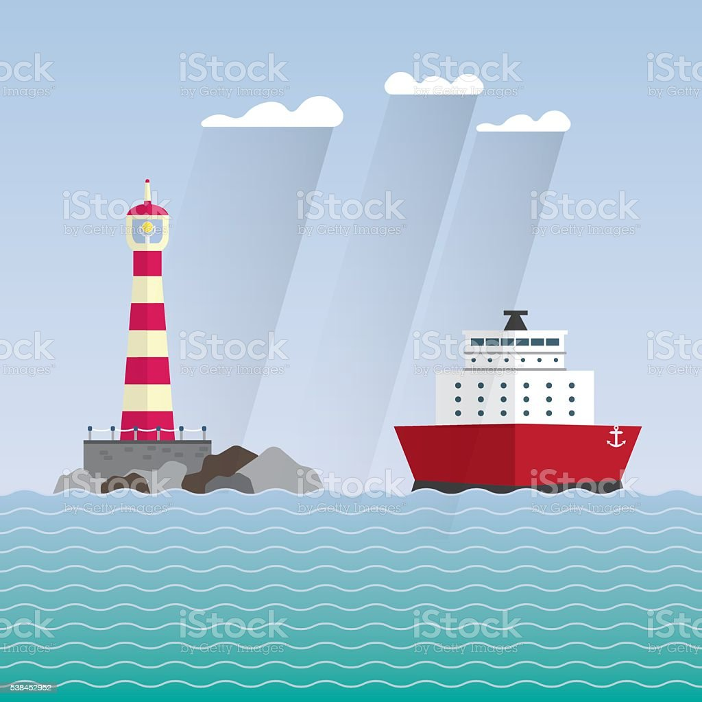 ship and lighthouse vector art illustration