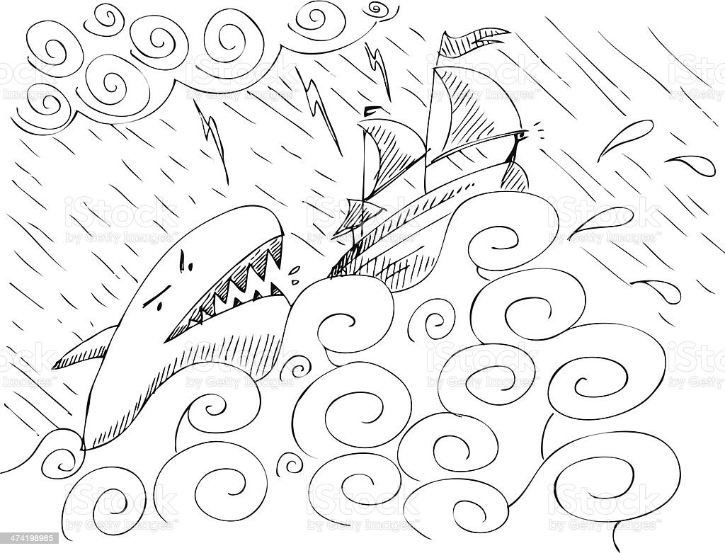 Ship and shark royalty-free stock vector art